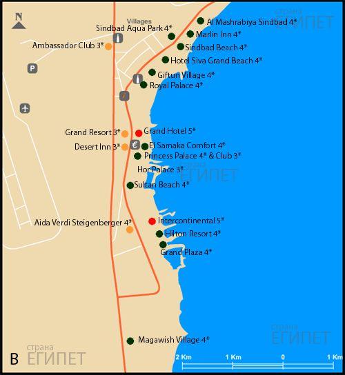 карта хургады, карта отелей